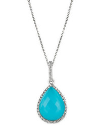 Morris David Turquoise White Topaz Diamond And 14k White Gold Pendant Necklace