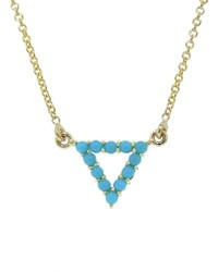 Jennifer Meyer Open Turquoise Triangle Pendant Necklace Yellow Gold