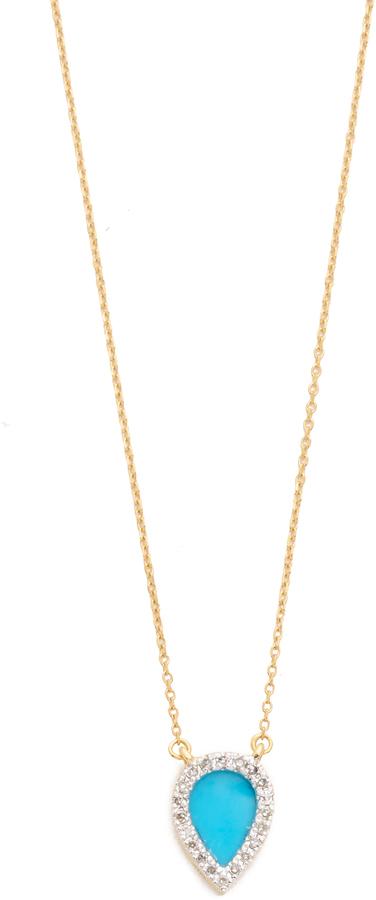 Adina Reyter 14k Gold Small Turquoise Diamond Teardrop Pendant Necklace