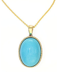 EFFY Turquesa 14k Yellow Gold And Turquoise Oval Pendant