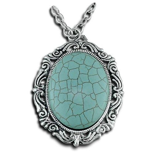 VistaBella Fashion Vintage Turquoise Pendant Necklace