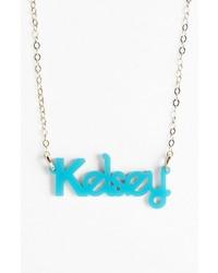 Moon and Lola Zebra Block Font Personalized Nameplate Pendant Necklace