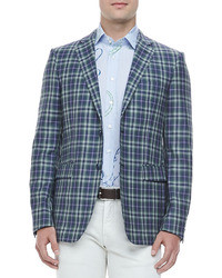 Two button plaid blazer bluegreen medium 7732