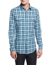 Tom Ford Washed Large Plaid Twill Sport Shirt Aqua