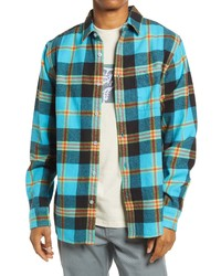 Obey Plaid Flannel Organic Cotton Button Up Shirt
