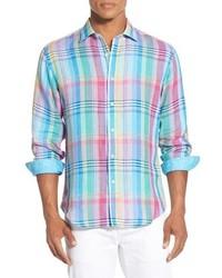 Bugatchi Shaped Fit Long Sleeve Plaid Linen Sport Shirt