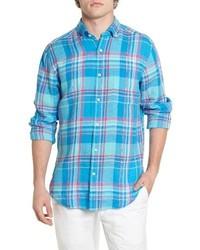 Aquamarine Plaid Long Sleeve Shirt