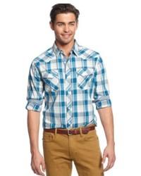 American rag western plaid long sleeve shirt medium 229675