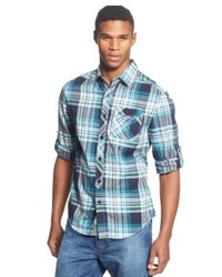 Sean John Long Sleeve Open Twill Plaid Shirt