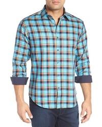 Shaped fit plaid sport shirt medium 816158