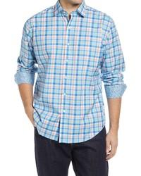 Bugatchi Shaped Fit Plaid Stretch Cotton Button Up Shirt