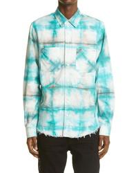 Amiri Watercolor Plaid Cotton Button Up Shirt