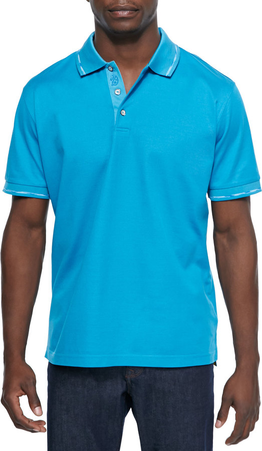 275d223a Robert Graham Mercerized Short Sleeve Polo Shirt Aqua, $98 | Neiman ...