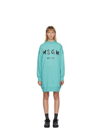 MSGM Blue Artist Logo T Shirt Dress