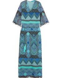 Matthew Williamson Pompom Trimmed Printed Silk Chiffon Coverup Turquoise