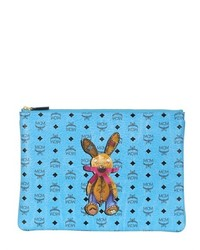 Mcm medium rabbit printed faux leather pouch medium 176153