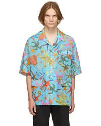 Versace Blue Trsor De La Mer Short Sleeve Shirt