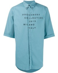 DSQUARED2 Printed Logo Button Up Shirt
