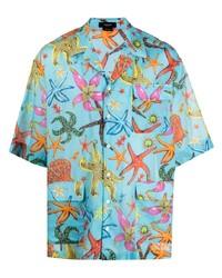 Versace Underwater Print Short Sleeve Shirt
