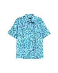 Fendi X Sarah Coleman Ff Vertigo Short Sleeve Silk Button Up Shirt