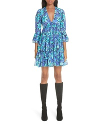 Michael Kors Daisy Print Tiered Silk Tte Minidress