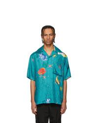 Off-White Blue Silk Holiday Shirt