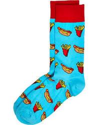 River Island Blue Hotdog Print Socks