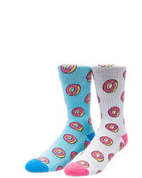 Odd Future Donut Allover Socks In Light Blue Donut Allover Socks