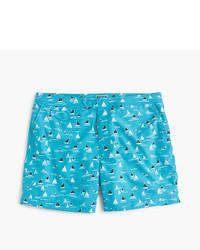 J.Crew 65 Tab Stretch Swim Short In Sailboat Print