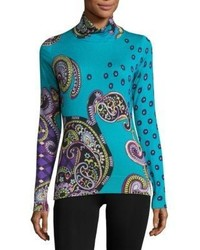 Etro Printed Silk Cashmere Turtleneck Sweater