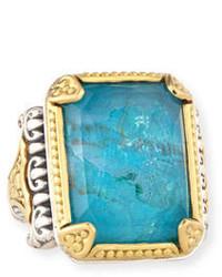 18k crystal quartz over chrysocolla doublet ring medium 651784