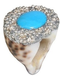 Cowrie shell w turquoise capri ring medium 454989