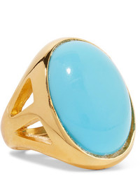 Kenneth Jay Lane Gold Plated Turquoise Ring