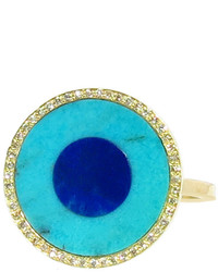 Jennifer Meyer Turquoise And Lapis Inlay Ring With Diamonds Yellow Gold