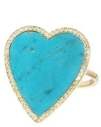 Jennifer Meyer Large Turquoise Diamond Heart Ring