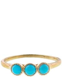 Lori Mclean Three Stone Turquoise Ring Yellow Gold