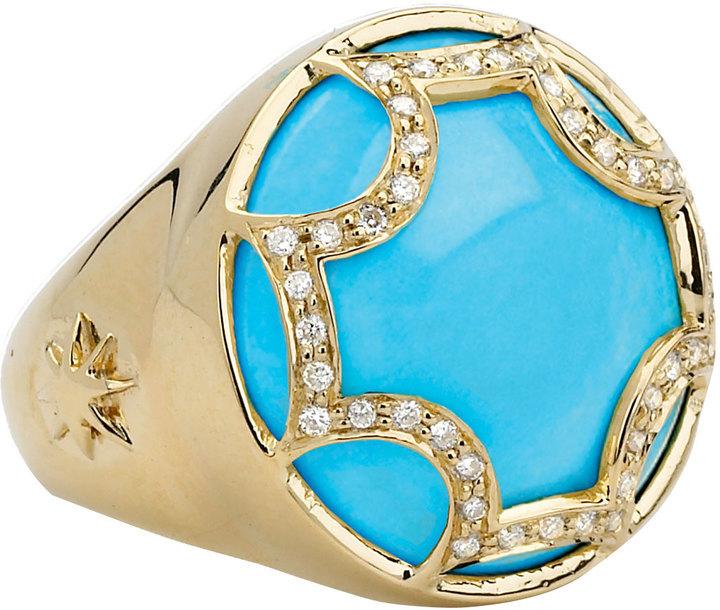Elizabeth Showers Turquoise Maltese Ring, Size 7