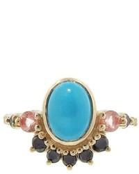 Mociun Turquoise And Black Diamond Fringe Ring