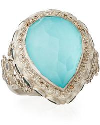 Armenta New World Turquoise Doublet Cocktail Ring W Mixed Diamonds Tourmaline Size 65