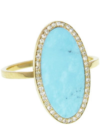 Jennifer Meyer Oval Turquoise Inlay Ring With Diamonds Yellow Gold