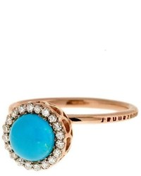 Selim Mouzannar Turquoise And Diamond Ring Rose Gold
