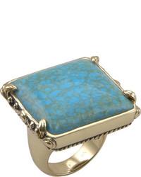 Barse Squareturquoise Howlite Bronze Ring Jubir03thw