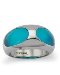 Tioneer Stainless Steel Ladies Ring W Blue Resin Inlay
