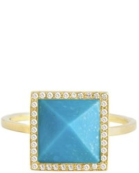 Jennifer Meyer Turquoise Pyramid With Diamond Surround Ring Yellow Gold