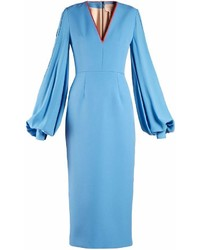 Aquamarine Satin Midi Dress