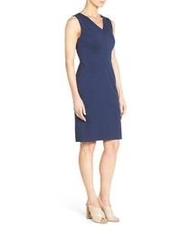 9c83457e1c ... Classiques Entier Sleeveless Italian Ponte V Neck Sheath Dress ...