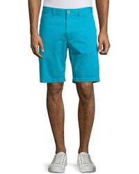 Robert Graham Journeyman Solid Flat Front Shorts Aqua