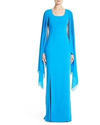 St. John Collection Cape Sleeve Cady Column Gown