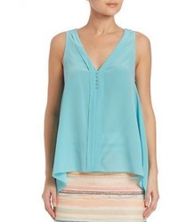Trina Turk Sleeveless Silk V Neck Top