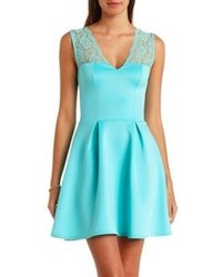Charlotte russe lace yoke pleated skater dress medium 60587